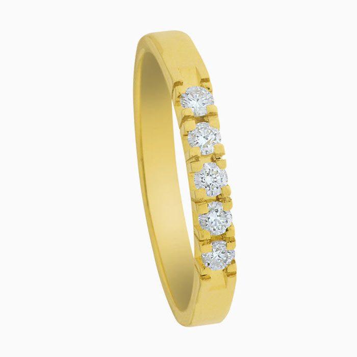 A303-5 gouden ring met 5 diamanten