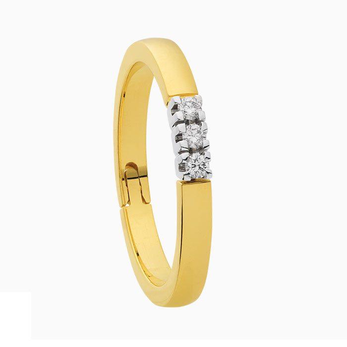 gouden alliance ring met 0,09 crt. diamant
