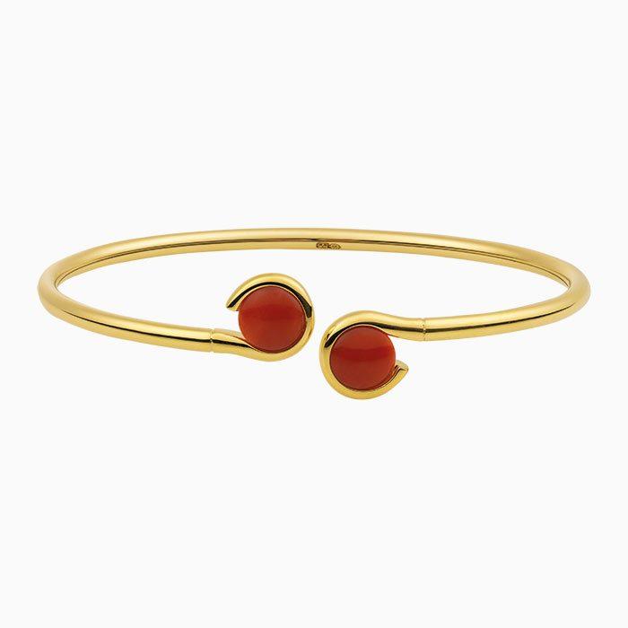 B2019/1 Gouden armband met bloedkoraal