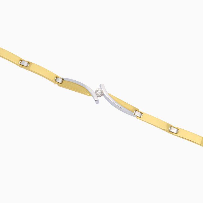 B4237 gouden schakel armband met diamant