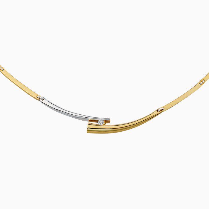 C4260 gouden schakel coller met diamant