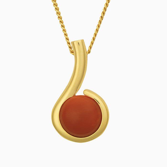 H2019/1 gouden hanger met bloedkoraal