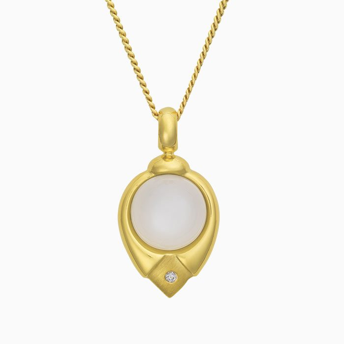 H2019/3 Gouden hanger met maansteen en diamant