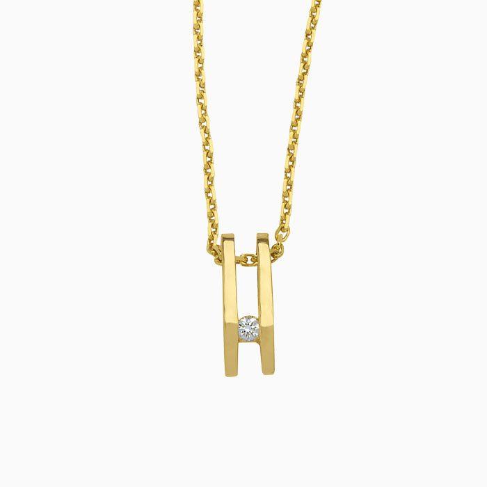 h3005 gouden hanger met diamant