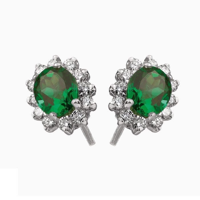OK124-sma oorknoppen met smaragd