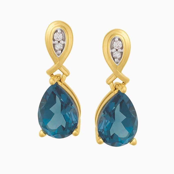 OK2019-6 oorknoppen met diamant en London Blauw Topaas
