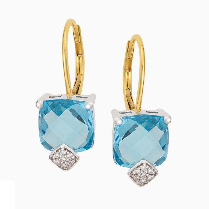 OK2019-9 oorknoppen met diamant en sky blue topaas