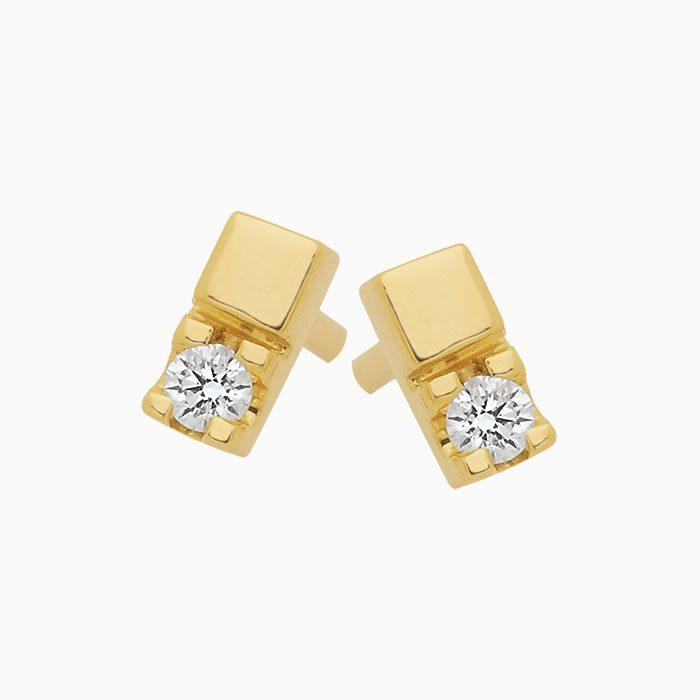 OK303/6 oorknoppen met 2 diamanten