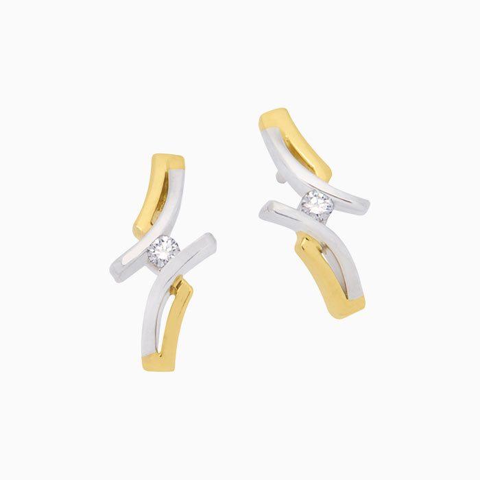 OK4237 gouden oorknoppen met diamant
