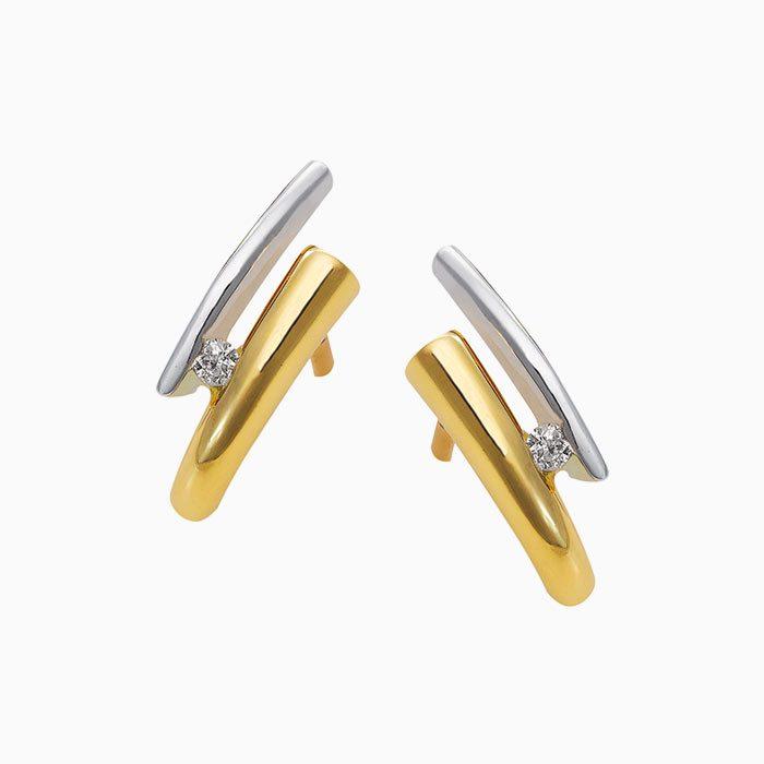 ok4260 gouden oorknoppen met diamant