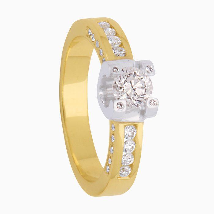 r122 exclusieve bicolor gouden ring met 0,60 crt. diamant