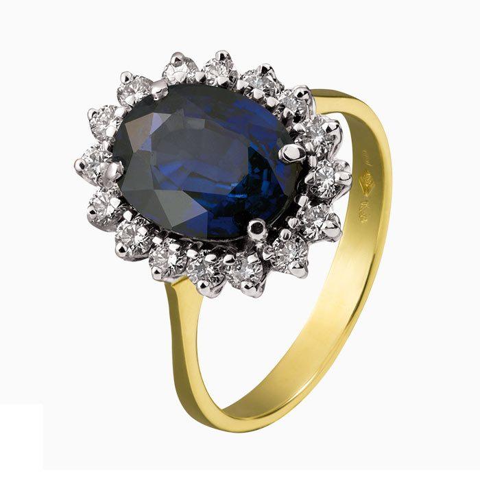 r124-56 ring met saffier en 0,54 crt diamant