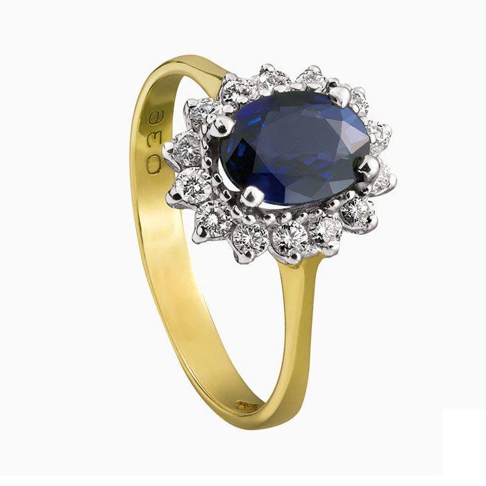 R134-36 exclusieve gouden ring met diamant en saffier
