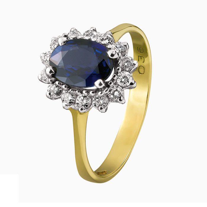 R134-36 ring met saffier en diamant