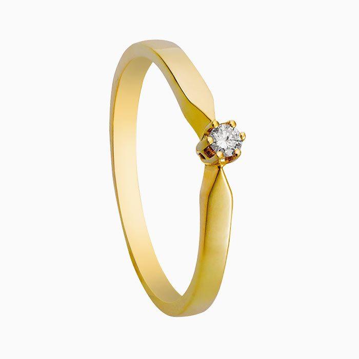 R16 geel gouden ring met 0,03 crt. diamant