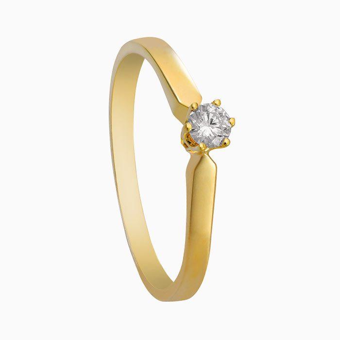 R16 geel gouden ring met 0,25 crt. diamant