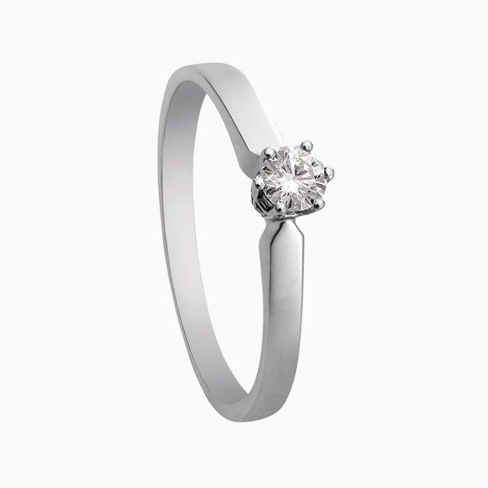 R16 witgouden ring met 0,22 crt. diamant
