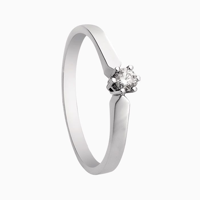r16 wit gouden ring met 0,7 crt diamant