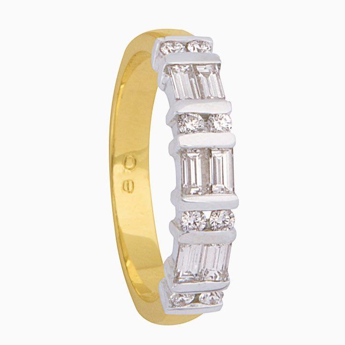 R1710 exclusieve gouden ring met caré en briljant gespelen diamant