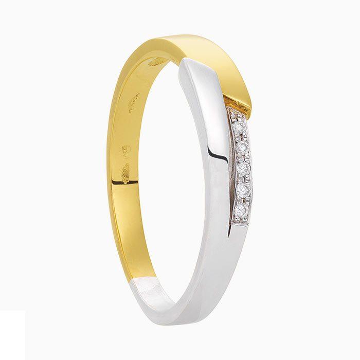 R2018/8 Bicolor gouden ring met diamant