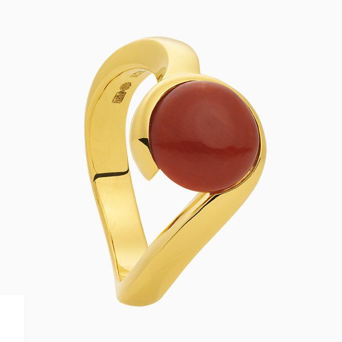R2019/1 Gouden ring met bloedkoraal