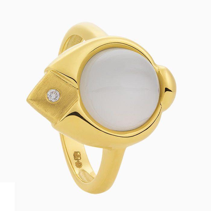 R2019/3 Gouden ring met maansteen en diamant