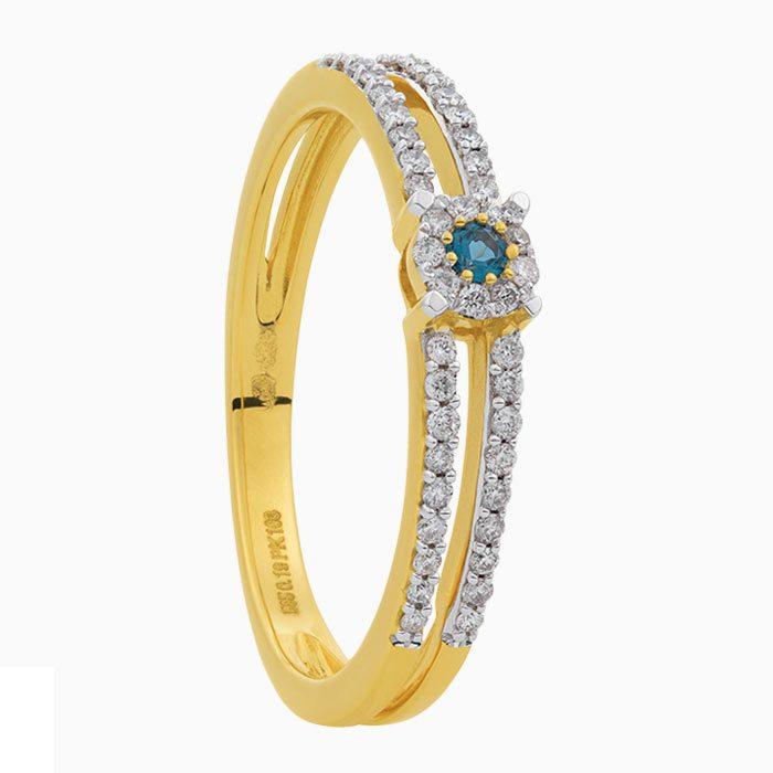 T2019-52 gouden ring met diamant en london blauw topaas