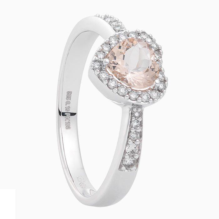 R2019-53 gouden ring met diamant en morganiet