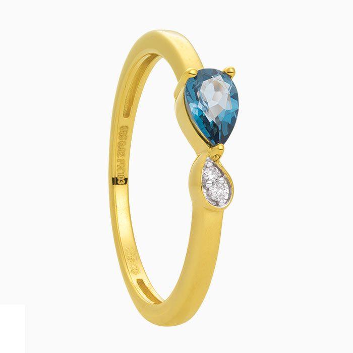 R2019-6 ring met diamant en blauw topaas