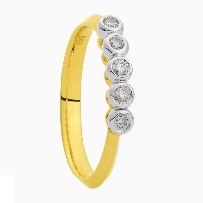 R2019-61 gouden ring met 5 x 0,025 diamant