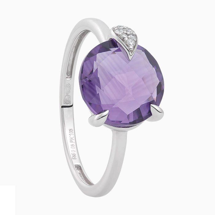 R2019/7 gouden ring met amathist en diamant