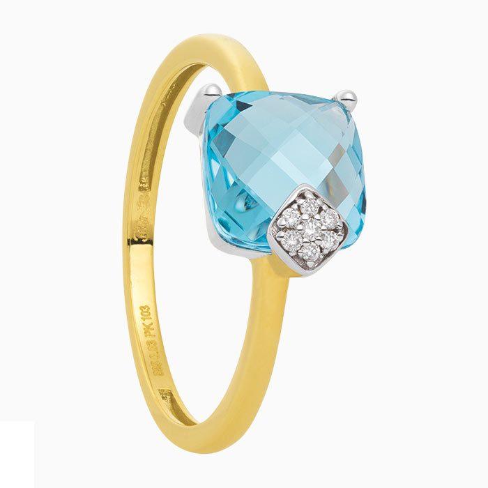R2019-9 ring met diamant en sky blue topaas