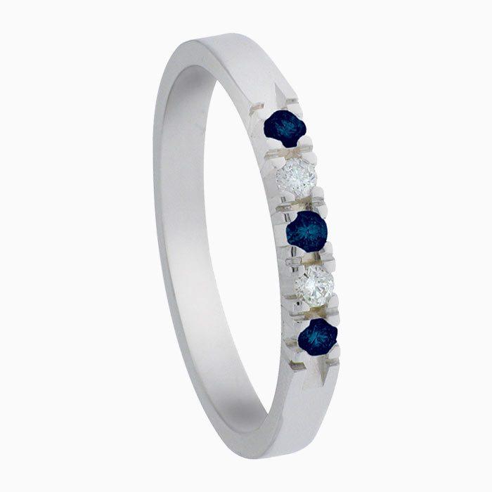 A303-saffier ring met diamant en saffier