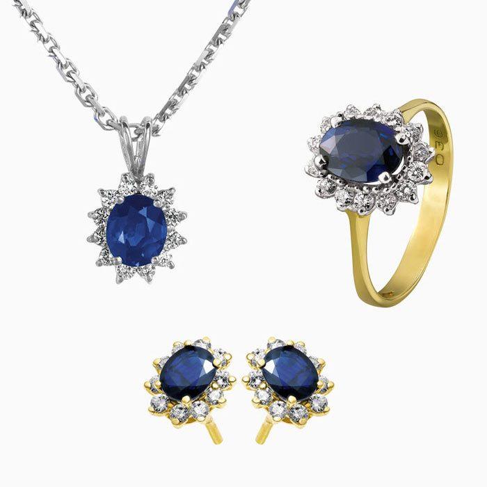 124 set sieraden met diamant en saffier