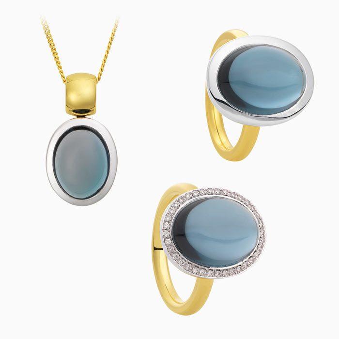 2019-2 set met diamanten en London Blauw Topaas