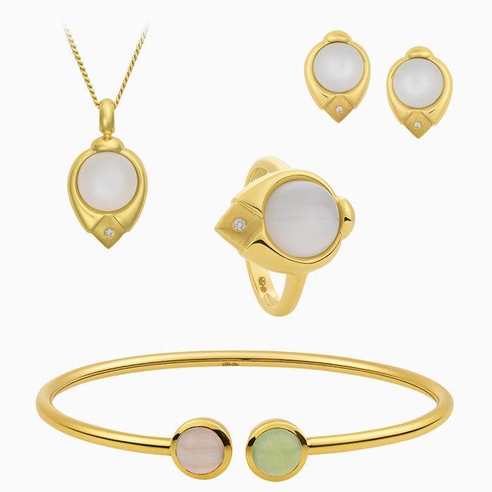 2019/3 set gouden sieraden met maansteen, chalcedoon en diamant