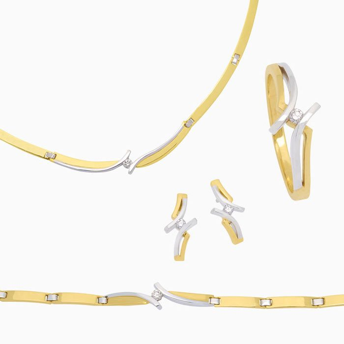 4237 set gouden sieraden met diamant