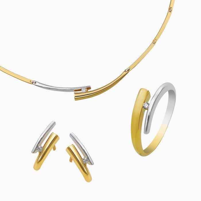 4260 set gouden sieraden met diamant