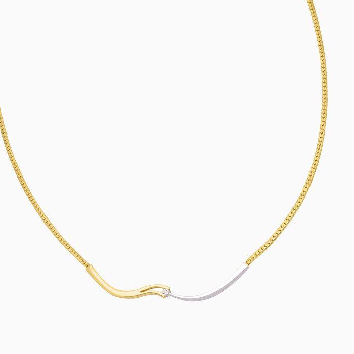 v-slag collier goud met diamant
