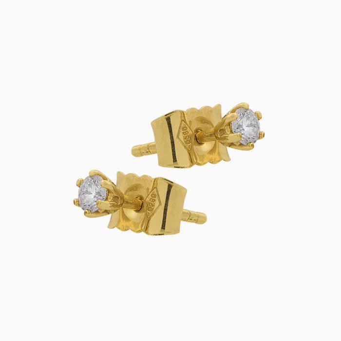 oorknoppen klassiek solitair goud met groeibriljant