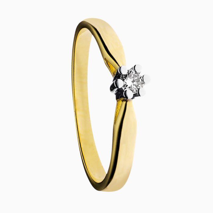 Ring klassiek solitair geel goud met groeibriljant