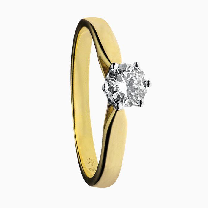 ring klassiek solitair geel goud met groeibriljant 0,50 crt.