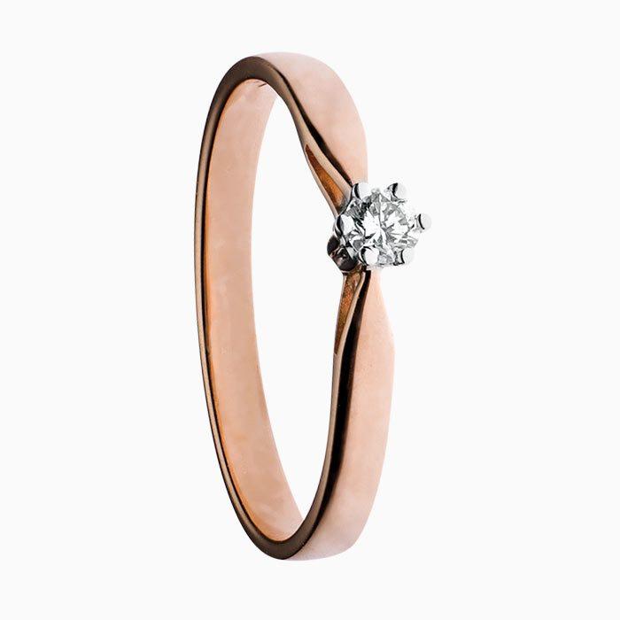 ring klassiek solitair rose goud met groeibriljant