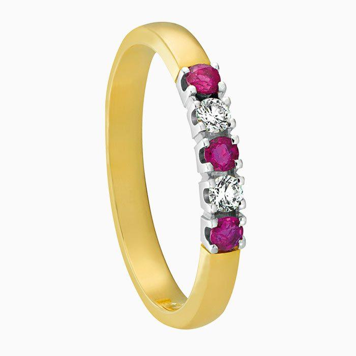 m101 gouden ring met robijn en diamant