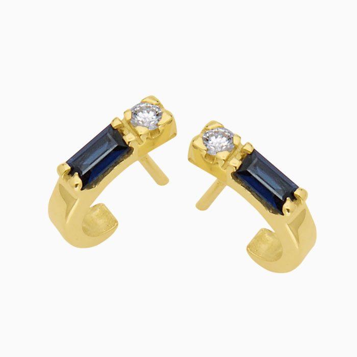 ok10145 gouden baguette oorknoppen met diamant en saffier