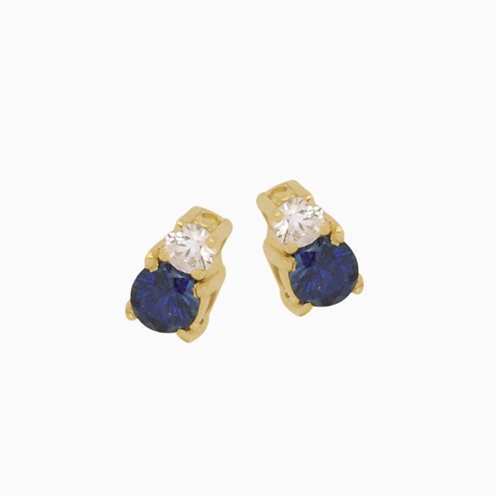 ok1520 gouden oorknoppen met diamant en saffier