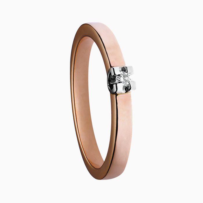 H150 ring rose goud met groeibriljant
