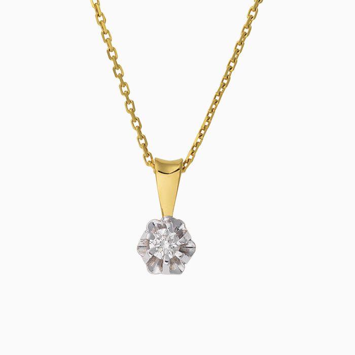Gouden spiegel hanger met diamant groeibriljant