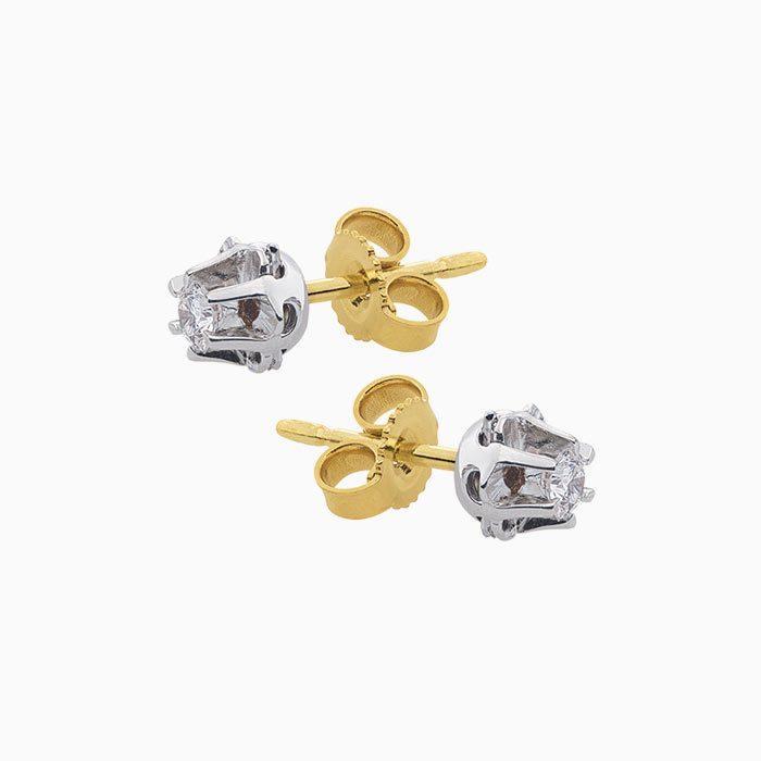 gouden spiegel oorknoppen met diamant goeibriljant