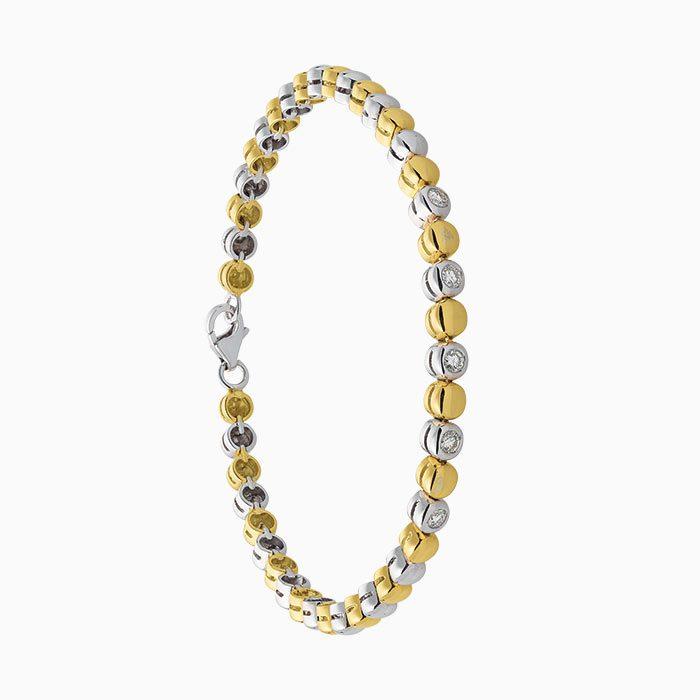 b2016-25 bicolor gouden armand met diamant inzet